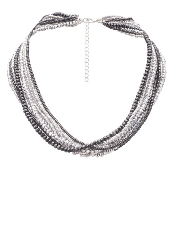 Red's Revenge black Grey & Black Crystal Layered Collar Necklace RE144AC0S0UEMY_1