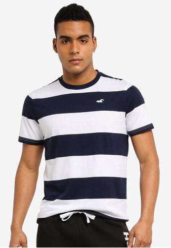 Hollister navy Rolled Cuff Stripes T-Shirt A7B0FAAE7D6209GS_1