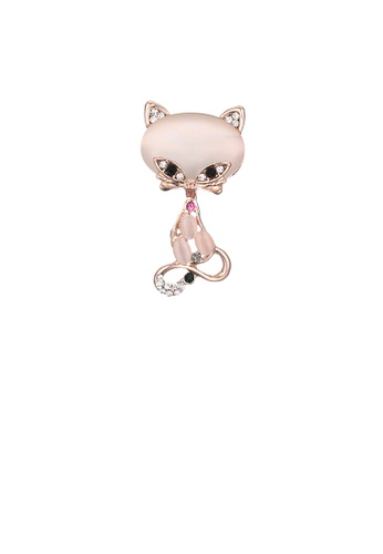 Glamorousky white Fashion and Elegant Plated Gold Cat Opal Brooch with Cubic Zirconia 430D7ACF772888GS_1