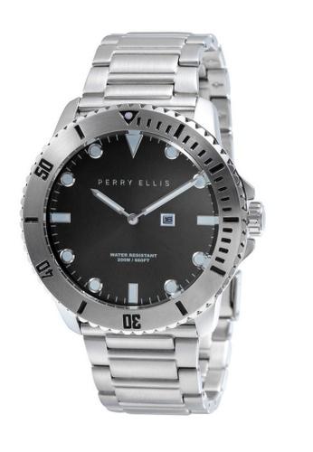 PERRY ELLIS silver Perry Ellis Deep Diver Unisex 42mm Quartz Stainless Steel Watch 06001-02 ABBE2ACC3F66C1GS_1