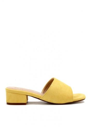 KissXXX 黃色 清新氣質馬卡龍色系絨面小方頭一字款中跟時尚拖鞋 KI603SH09LF3TW_1
