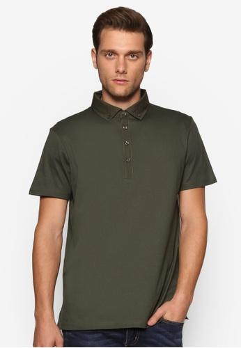 Burton Menswear London green Khaki Pique Polo Shirt BU964AA80ZOPMY_1