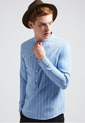 氣質百搭。半開襟條紋襯衫-03691-esprit 見工藍條, 服飾, 格紋襯衫