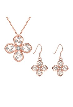 Treasure by B&D S006-B Delicate Flower Necklace & Dangle Earrings Party Jewellery Set