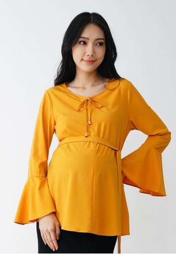 9months Maternity yellow Mustard Flounce Sleeve Nursing Blouse D445BAA0B32A2BGS_1