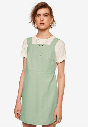 Mango green Short Cotton Pinafore Dress C67A6AA82061C9GS_1
