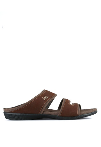 Louis Cuppers brown Double Strap Sandals LO977SH0S9SBMY_1