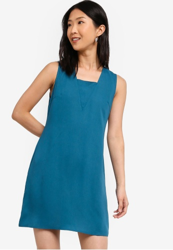 ZALORA BASICS blue Basic Sleeveless Straight Dress 30775AAE396619GS_1