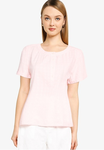 GAP pink Roll Sleeve Button Front Top C3C7AAAB47FDE6GS_1