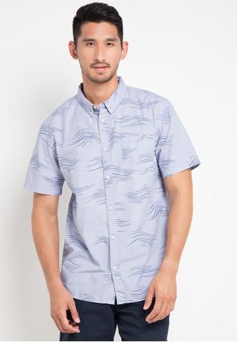 Quiksilver blue Valley Groove Print Ss Shirt 0C263AA708C788GS_1