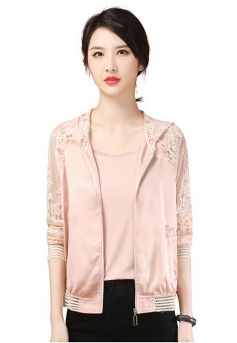A-IN GIRLS pink Fashion Lace Stitching Jacket F1F4CAA69FCD8CGS_1