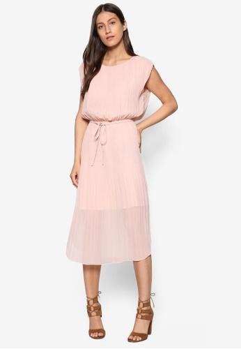 WAREHOUSE pink Pleated Curved Hem Dress WA653AA04TQHMY_1