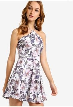 【ZALORA】 Love 裹式花卉印花無袖連身裙