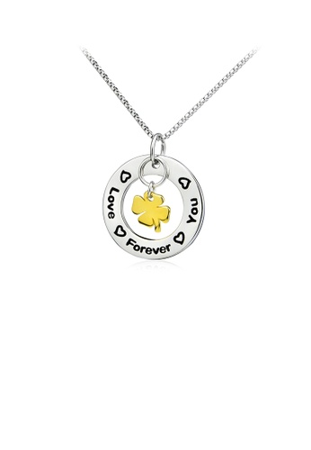 Glamorousky silver 925 Sterling Silver Fashion Simple Golden Four-leaf Clover Geometric Round Pendant with Necklace D457FACE950EAEGS_1