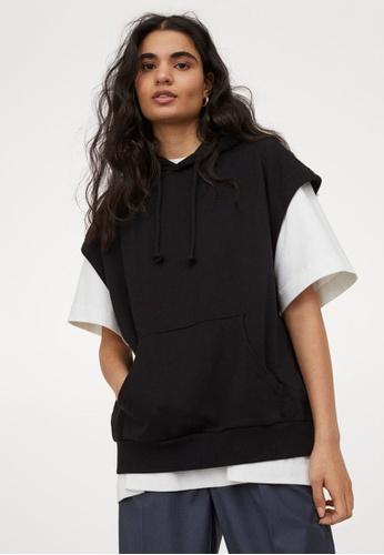 H&M black Sleeveless Hoodie 425D3AAF3212C5GS_1