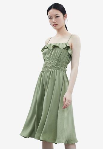 Urban Revivo 綠色 荷葉洋裝 6FEEAAA998B150GS_1