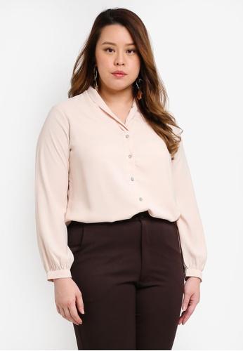Ex'otico beige Plus Size Long Sleeve Shawl Collar Blouse BF513AAD155193GS_1
