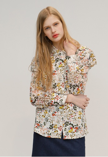 OUTSTANDING ORDINARY white and multi Much Floral See-Throuh Sleeve Blouse OU203AA13DCWSG_1