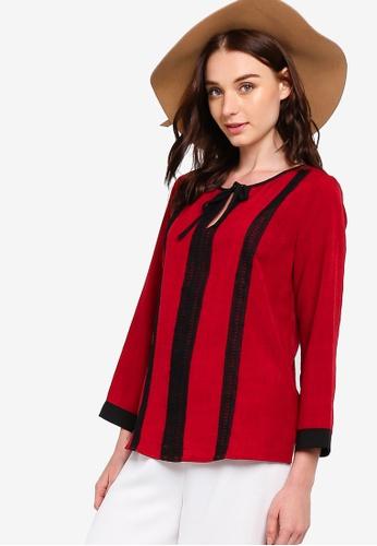 Zalia red Lace Trim Tunic C0E71AA93769F4GS_1