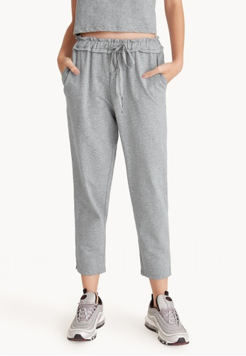 Pomelo grey Ruffle Waistband Drawstring Slim Sweatpants 03368AAC95F93DGS_1