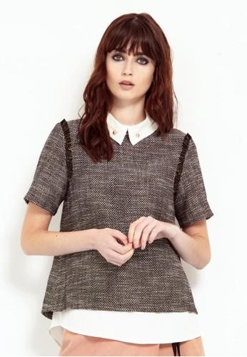 經典毛呢混色兩件式襯衫zalora 鞋評價, 服飾, 襯衫
