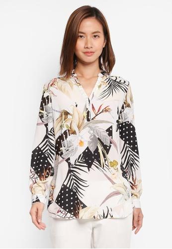 Wallis white Monochrome Polka Dot And Floral Shirt EDFC2AAB8DB41CGS_1