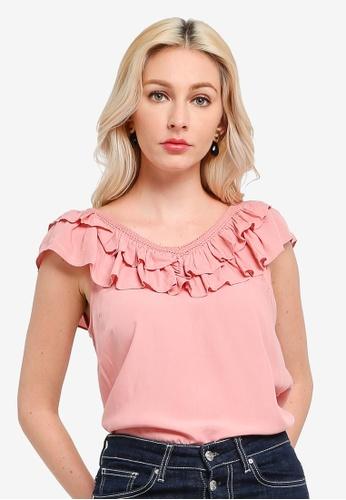 Vero Moda pink Louisa Sleeveless V-Neck Top 8628FAA0E17441GS_1