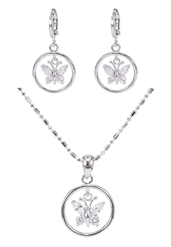 SO SEOUL silver Gabriella Butterfly in Circle Diamond Simulant Hoop Earrings and Necklace Set 7BA8DACC0484CBGS_1