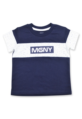 """Moose Gear white and blue and navy Boys T-Shirt with """"MGNY"""" Print Details 7E505KAF35F643GS_1"""