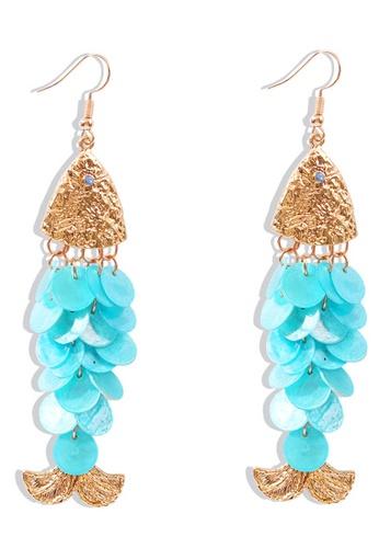Sunnydaysweety blue Shell Fish-Shaped Long Earrings A21032403BL 4F8F4AC403C147GS_1