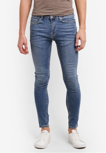 Topman blue Light Wash Blue Spray On Skinny Jeans TO413AA0SHQAMY_1