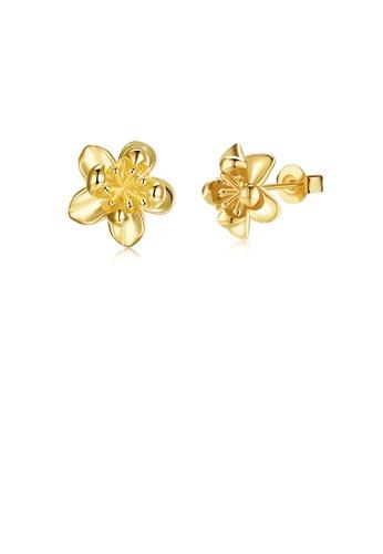 Glamorousky silver Fashion Elegant Plated Gold Flower Stud Earrings DD74EAC0E82770GS_1