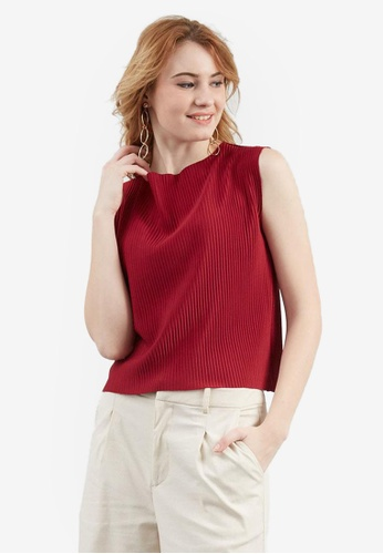 Berrybenka red Donna Plisee Top CAB0EAAEE6D0F6GS_1