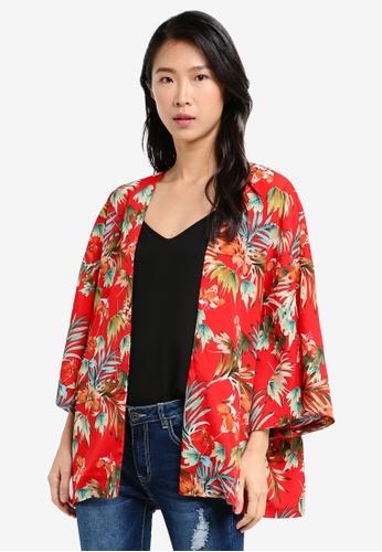 ZALORA red Short Printed Kimono 9DD2EAAFC79662GS_1