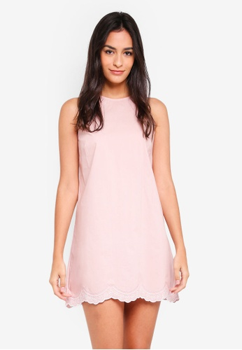 Something Borrowed pink Embroidered Scallop Dress 73FF7AA816536BGS_1
