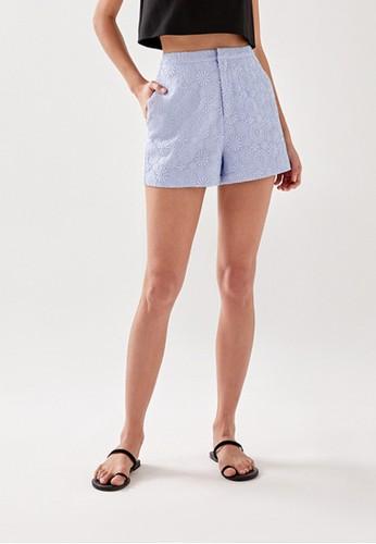 Love, Bonito blue Almie Lace Overlay Tailored Shorts 7A263AA840E2F9GS_1