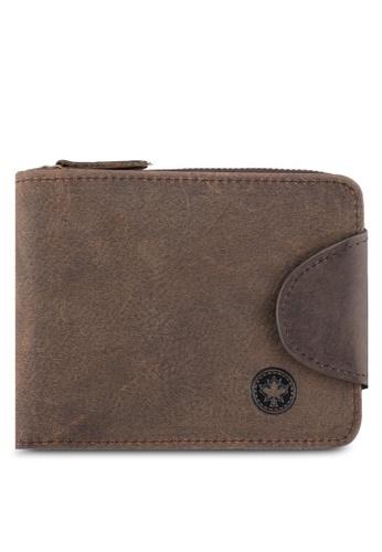 Lumberjacks brown Lumberjacks Genuine Leather Zipper Wallet LU545AC0SMCYMY_1