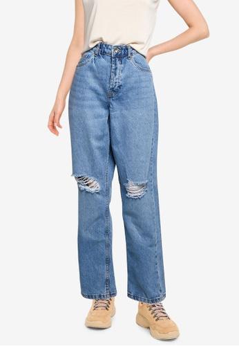 Supre blue Dad Straight Ripped Jeans 181AFAAC1E6DEFGS_1