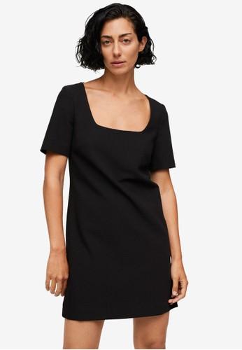Mango black Short Sleeved Dress 078D3AA482E2A4GS_1