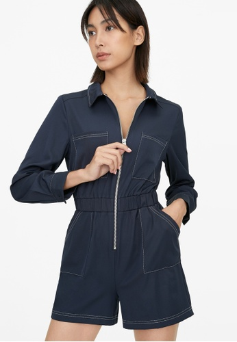 Pomelo blue Zip Up Collared Romper - Navy 2DB72AAEFB4C02GS_1