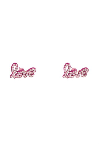 LOVE 字母晶鑽閃飾耳釘, esprit outlet飾品配件, 耳釘