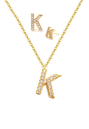 """Atrireal gold ÁTRIREAL - Initial """"K"""" Necklace + Earrings Jewellery Set in Gold E8BABAC2E9682FGS_1"""