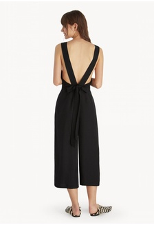 00985351b2ad Open Back Bow Tie Jumpsuit - Black 20DC8AAAA35601GS 1
