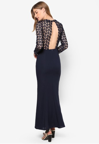 Lesleyzalora 心得's 露背鉤針花長袖連身長裙, 服飾, 洋裝