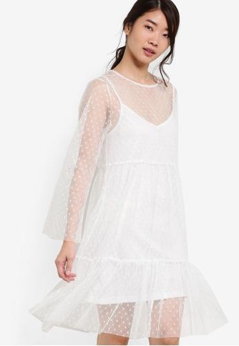 ZALORA white Collection Spotted Mesh Midi Dress 87171ZZB5212ACGS_1