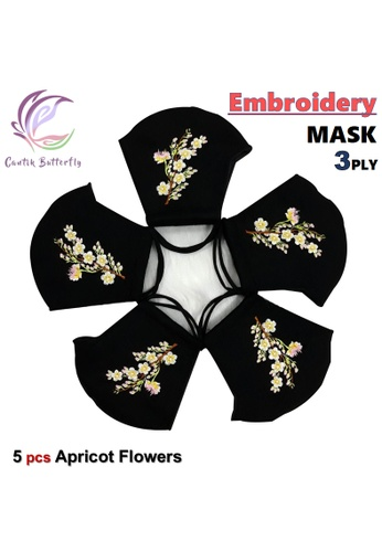 Cantik Butterfly black Embroidery Mask 3Ply Reuseable Washable Face Mask Non Surgical Mask (Apricot Flowers) Set of 5 B392EESA0C6104GS_1