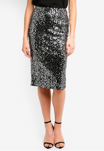 WAREHOUSE silver Velvet Sequin Midi Skirt 47E86AA6AE3FA1GS_1