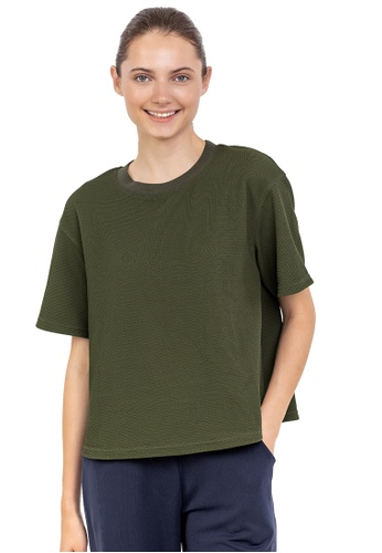 Huitieme green HUITIÈME JACQUARD OLIVE TEE. 93839AA5D7E839GS_1