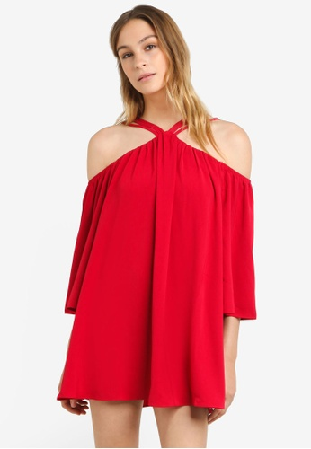 Preen & Proper pink Strappy Cold Shoulder Swing Dress PR614AA0RRXUMY_1
