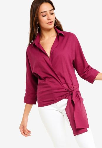 f2d899a5569e7 Shop ZALORA Front Tie Shirt Online on ZALORA Philippines